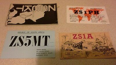 Four QSL Amateur Radio Transmission Card.  South Africa (1)