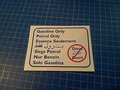 Gasoline Only Sticker for world travellers, works for all vehicle makes