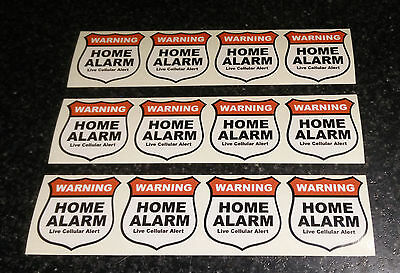 12X Home Alarm Security stickers Live Cellular Alert, decals, security set of 12