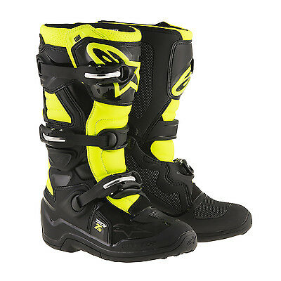 2017 Alpinestars Youth Tech 7S Motocross Boots - Black/Fluro Yellow Kids MX Offr