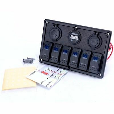 Blue LED 6 Gang 12V/24V with Rocker Switch Panel Waterproof for Marine Boat-AM