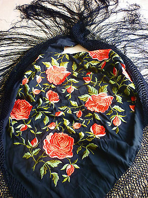 Stunning - Vibrant Vintage Red & Black Embroidered Flower Piano Shawl
