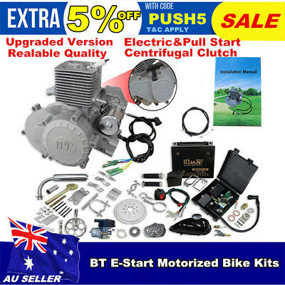 2 Stroke 80cc Bike Engine Kit 5HP W' Electric Start For Motorised Push Bike
