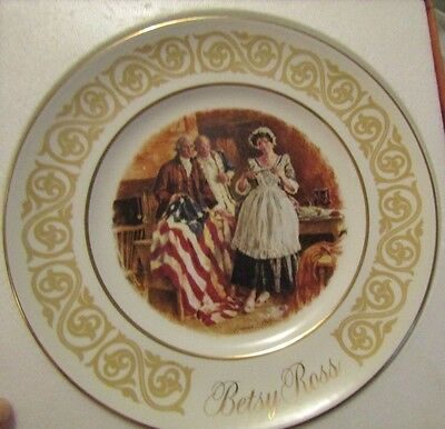 """1973 Avon Betsy Ross 9"""" plate by Wedgwood WITH C.O.A. ORIGINAL BOX"""