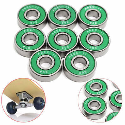 8Pcs 608 ABEC 11 Wheel Bearings for Scooter Skating Skateboard Drift Plate Green