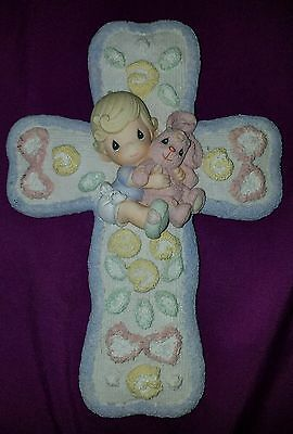 2001 Enesco Precious Moments Wall Cross Baby Pink Bunny 8x5 inch, w/sticker tag