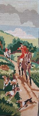 """vintage completed cotton needlepoint fox hunt ,Beagle dogs 19.5""""x6.7"""""""