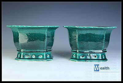 Fine Chinese A Pair Beautiful Green Glaze Porcelain Carved Dragon Flowers Pot