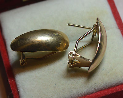 Vintage deceased estate collector unique smooth earrings, 9ct gold