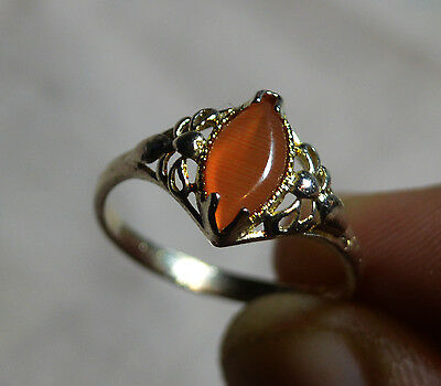 Vintage Marquise Sterling Silver antique ring, genuine Cat's Eye , size 9, R 1/2