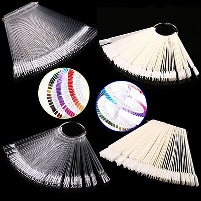 50pcs False Display Nail Art Fan Wheel Polish Practice Tip Sticks Nail Art B9