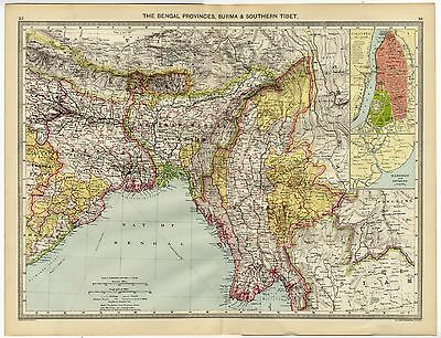 1907 Antique Map BENGAL PROVINCES Burma & Southern Tibet INDIA Calcutta ASSAM