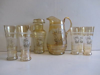 Vintage Frosted Yellow Lustre Glass Jug, 6 Tall Glasses and Cocktail Shaker Set