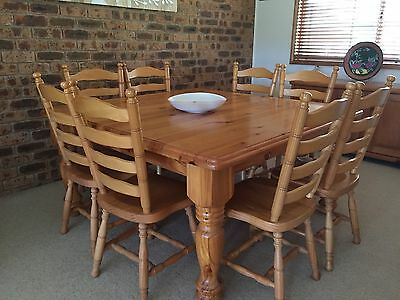 Solid Timber Square Dining Room Table And 8 Chairs
