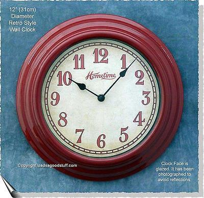 SALE! Retro CHERRY RED ENAMEL finish 1950s AMERICAN DINER look WALL CLOCK!