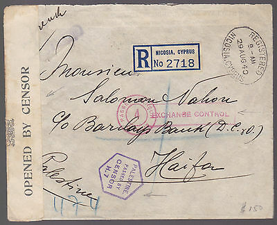 CYPRUS 1940 Multi Censored Registered Bank Cover to PALESTINE