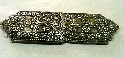 Antique Ottoman Folk Women Belt Buckle Decorated-Handmade-Silver Plated-100 Year