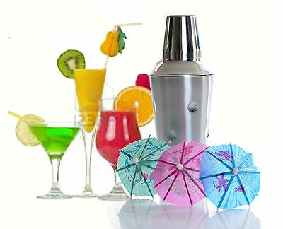 S/Steel Cocktail Shaker 500ml Bar Set Accessories + 36 FREE Cocktail Umbrellas