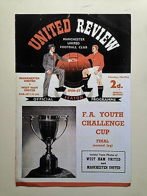 Fa Youth Cup Final Programme 1957 Manchester United V West Ham