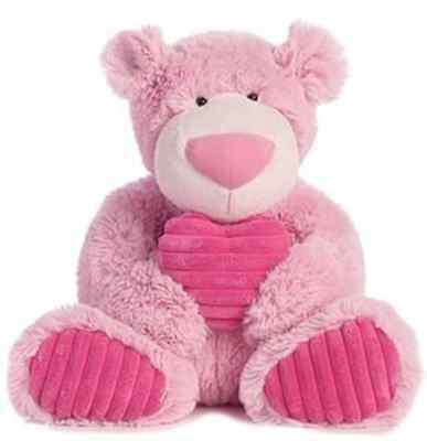 "Pink Soft Teddy Bear with Pink Heart 12"" Plush Valentines Day Gift"