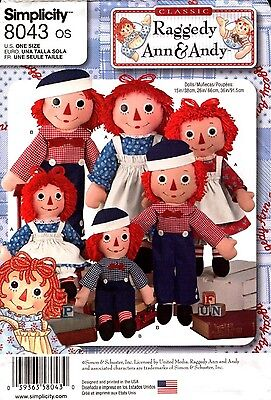"""Simplicity Sewing Pattern 8043 Doll Clothes Raggedy Ann Andy 15"""", 26"""", 36""""  NEW"""