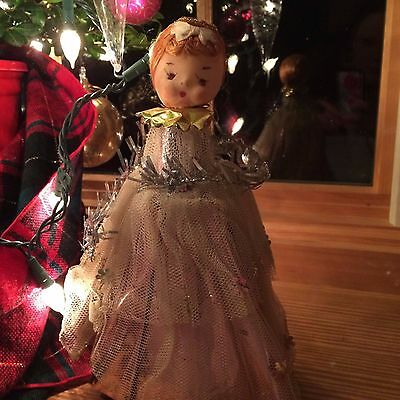 """Antique Christmas Angel Doll Pink Foil Tinsel Tulle Feather Tree Topper 10"""""""