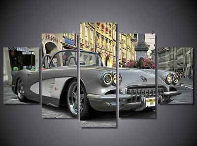 Gray Classic Car Vintage Retro Framed Picture Canvas Prints Wall Art Living Room
