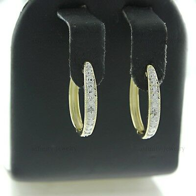 10K Yellow Gold Round Cut Diamond Accents Hoop Earring