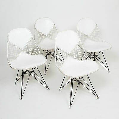 Vintage Set of 4 Eames DKR Herman Miller Wire Eiffel Tower Bikini Chairs White