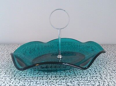 60s 70s Vintage Retro Turquoise Blue Glass Sweet Cake Stand Bon Bon Dish Sowerby