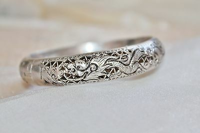 Rare Antique CHINESE 800 Silver Pierced DRAGON Repousse Bangle Bracelet