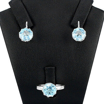 Natural 7.5 Cts Sky Blue Topaz Round Gems Sterling 925 Silver Jewelry Set, 8 Us