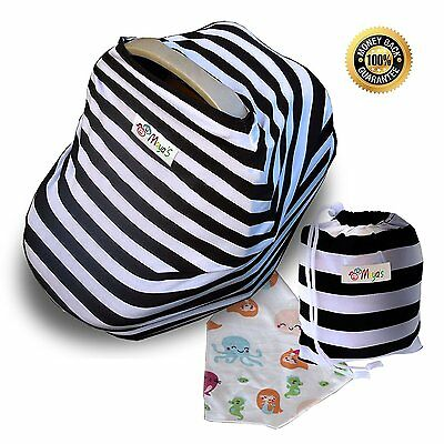 Stretchy Car Seat Canopy Cover Multi Use Nursing Cover Gift Set 3 in 1