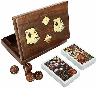 Antique Wooden Box 2 Packs Of Cards And 5 Dices 6.5 X 4.5 Inches