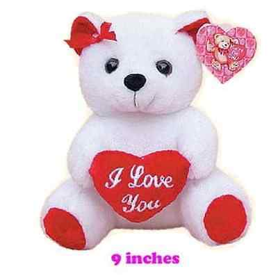 """9"""" Bear With Heart WHITE"""