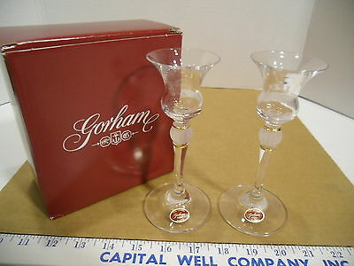 """Gorham Austria Golden Rondelle 6"""" Candle Cups with Tags C311, Set of 2 - EUC IOB"""