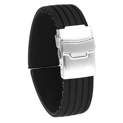 24mm Waterproof Stripes Silicone Watch Band Strap Stainless Steel Buckle Black