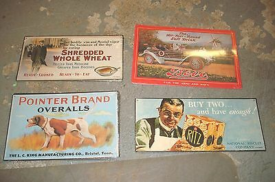 4 Unuque Nostalgic Reproduction Advertising Placards New And Sealed