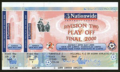 2000 PLAY OFF FINAL - WIGAN ATHLETIC v GILLINGHAM - UNUSED TICKET - POSTFREE
