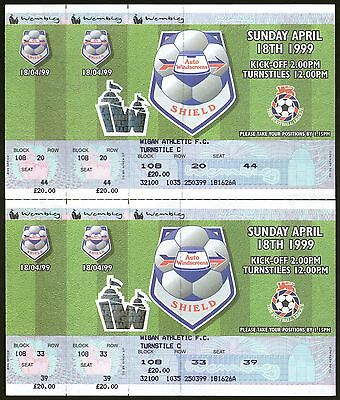 1999 AWS FINAL - WIGAN ATHLETIC v MILLWALL - UNUSED TICKETS - POSTFREE