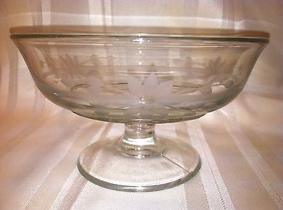 Vintage Etched Crystal Pedestal Candy Dish or Rose Bowl - PRETTY!