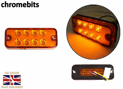 10 x 12V 24V 8 LED FRONT SIDE AMBER ORANGE MARKER LIGHTS TRUCK LORRY TRAILER