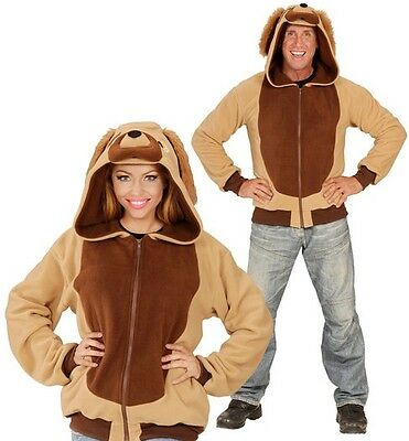 Adult Unisex Brown Dog Animal Hoodie Book Day Fancy Dress Costume S- XL