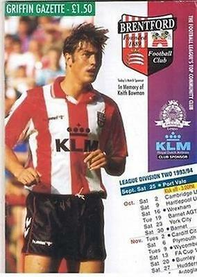 Brentford v Port Vale FC 25/09/93 (Griffin Park) football programme