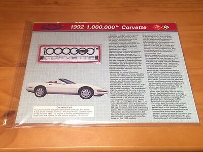 Vintage 1992 1,000,000th Corvette Technical Data with Patch