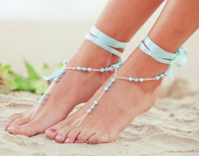 Hot Fashion  Barefoot Ribbon & Chain  Beach Foot Jewelry Anklet Ankle Chain 3UK