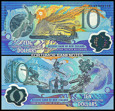 New Zealand 10 Dollars 2000 Unc Commemorative Polymer - Black Low Serial P.190A