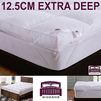 "Luxury (12.5Cm) 5"" Extra Deep 100% Goose Feather & Down Mattress Topper 12.5Cm"