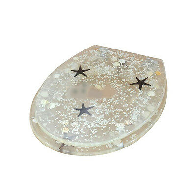 Transparency Resin Starfish Printed Bathroom Accessories Clean Toilet Cover #