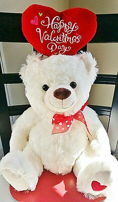 """Happy Valentines Day 15"""" Plush Teddy Bear with Plush Velvet Heart by DanDee"""